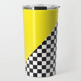 Checkered Flag Pattern Print with Neon Bright Yellow Travel Mug