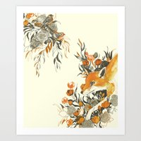 fox Art Prints featuring fox in foliage by Teagan White