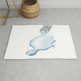 Lotion liquid dropped from the bottle on the floor Rug