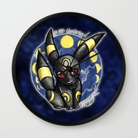 umbreon Wall Clocks featuring 197 - Umbreon by Lyxy
