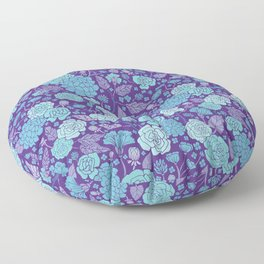 Bright Blue & Purple Floral Print Floor Pillow