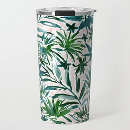 PLEASING PALMS Blush Tropical Leaves Travel Mug