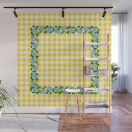 Blue Flowers on Yellow Check - more colors Wall Mural
