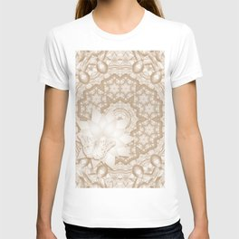 Butterfly on mandala in iced coffee tones T-shirt