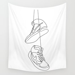 Sneakers simple minimal one line art, hanging shoes branded shoes  Wall Tapestry