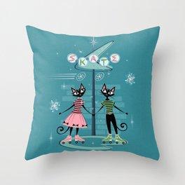 Vintage Kitty Skate Date ©studioxtine Throw Pillow