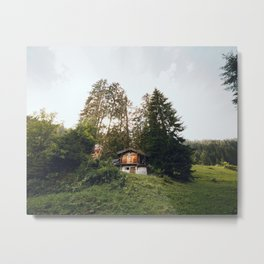Cabin in the woods, Switzerland | Wooden carpenter house in the Swiss Alps | Travel photography in the forest Metal Print