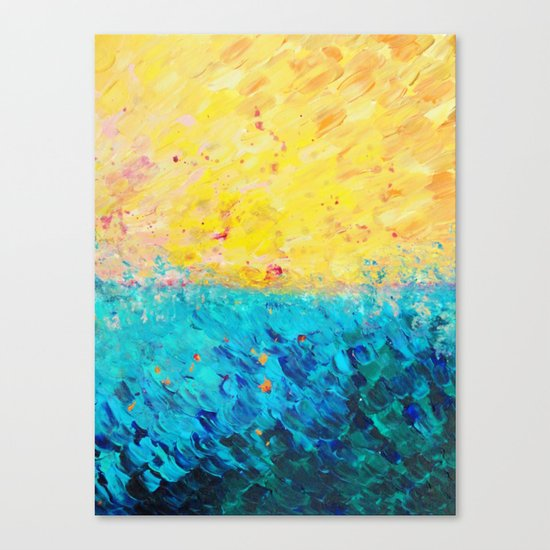 THE DIVIDE - Stunning Bold Colors, Ocean Waves Sun, Modern Beach Chic Theme Abstract Painting Canvas Print