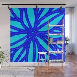 aqua blue bloom Wall Mural