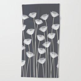 White Poppies Beach Towel