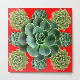GREY-GREEN  SUCCULENTS GARDEN  IN RED ART Metal Print