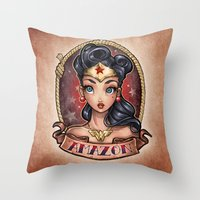 pinup Throw Pillows featuring Amazon Pinup by Tim Shumate