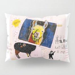 Llama Just Killed A Man mixed media collage llama art by Michel Keck Pillow Sham