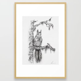 Deep in the wood (Squirrel on a branch) Framed Art Print