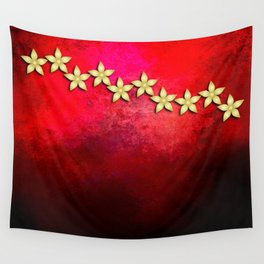 Spectacular gold flowers in red and black grunge texture Wall Tapestry