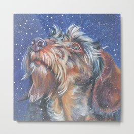 The wirehaired Dachshund dog art portrait from an original painting by L.A.Shepard Metal Print