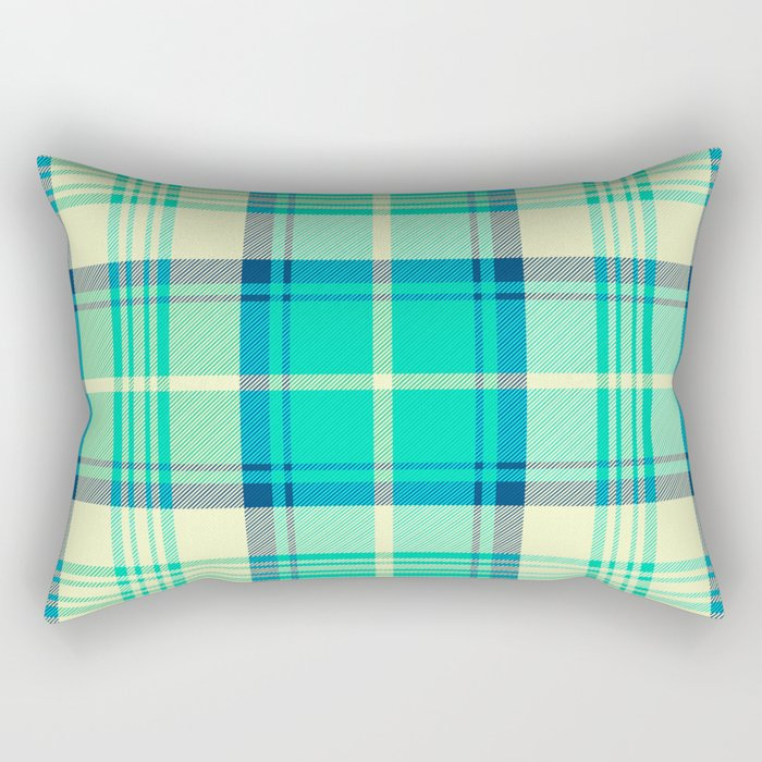 Turquoise Tartan Rectangular Pillow