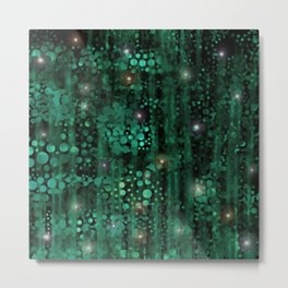 Deep Starry Night Forest Green Abstract Metal Print