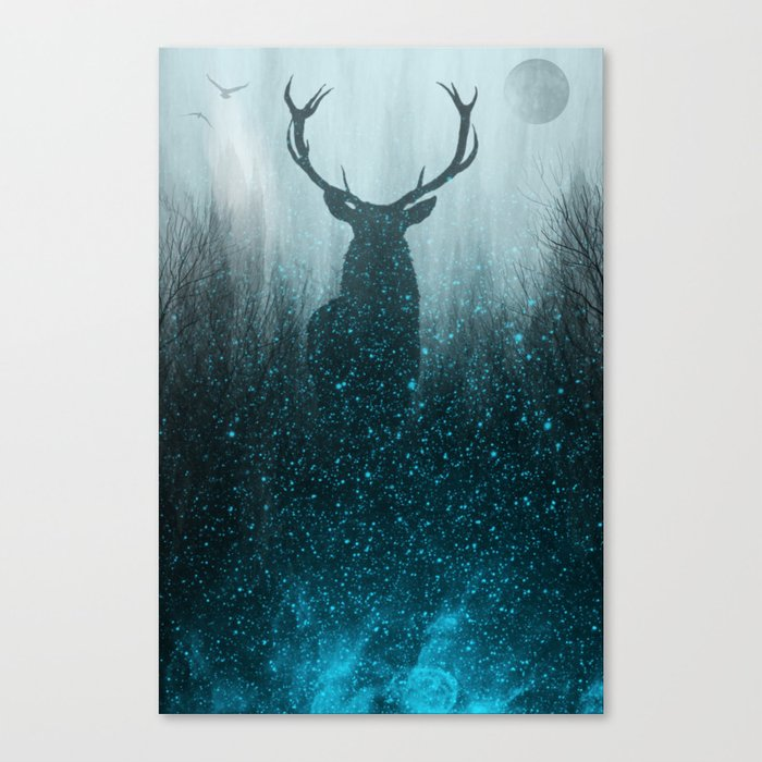 Snow Stag Silhouette Canvas Print
