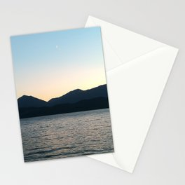 Sunset and Crescent Moon over the Water Stationery Cards