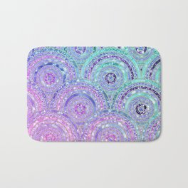 Aqua Blue Purple and Pink Sparkling Glitter Circles Bath Mat