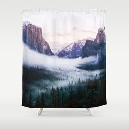 Misty Tunnel View - Yosemite National Park, CA Shower Curtain