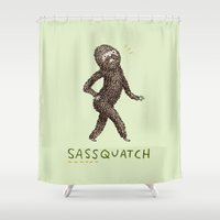 sasquatch Shower Curtains featuring Sassquatch by Sophie Corrigan