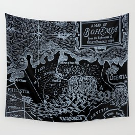 Map of Bohemia (black & white) Wall Tapestry