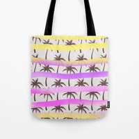 palm trees Tote Bags featuring Palm Trees by Ornaart
