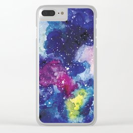 Cosmic Watercolor Clear iPhone Case