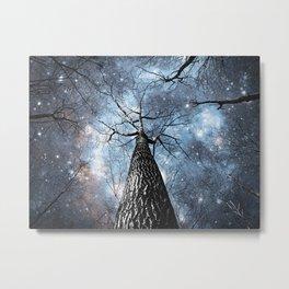 Wintry Trees Galaxy Skies Steel Blue Metal Print