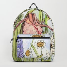 Lady Slipper Orchid Woodland Wildflower Watercolor Backpack