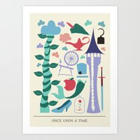 once upon a  time Art Prints featuring Once Upon a Time by Abbie Imagine