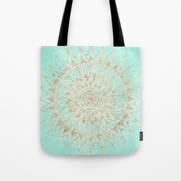 Mint and gold mandala Tote Bag