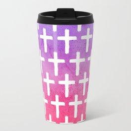 Cross Pattern Abstract Pink Purple Watercolor Travel Mug