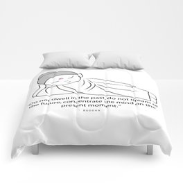 Contemplating Buddha with quote to inspire. Comforters