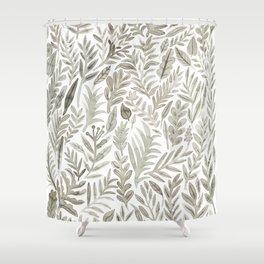 Grey Botanical Shower Curtain