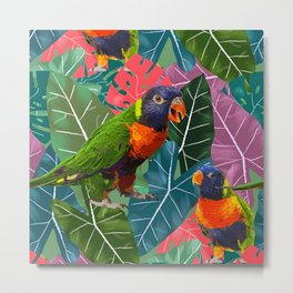 Parrots and Tropical Leaves Metal Print