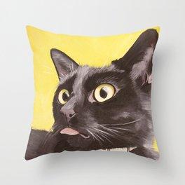 Cat Portrait #2 - Commissioner Gordon (2016) Throw Pillow