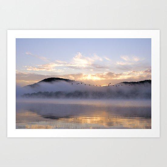 Misty Morning on the Lake Art Print