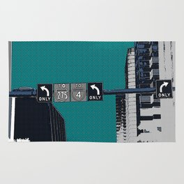 Downtown Tampa, Florida print - buildings, traffic sign, & signals - to I-4 or 275 turn left - urban Rug