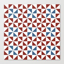 Pinwheel Quilt Pattern in Red and Blue Canvas Print