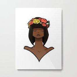 Flower Crown Lady Metal Print