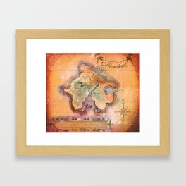 Never Land Map Framed Art Print