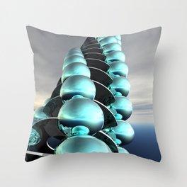 Column of Cyan Spheres Throw Pillow