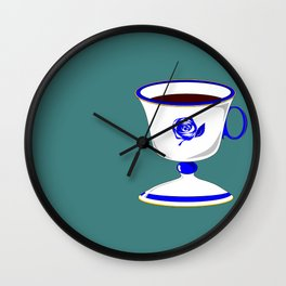 Cup of Coffee in Blue Flow Vintage China Wall Clock