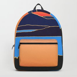 Sunset over lake and mountains. Backpack