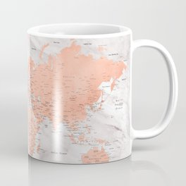 """Rose gold and marble world map with cities, """"Janine"""" Coffee Mug"""