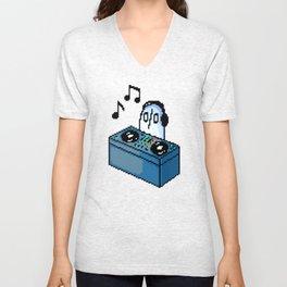 Napstablook DJ Set Undertale Pixel Art Unisex V-Neck