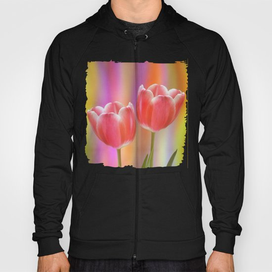 Colourful tête à tête tulips with canvas texture Hoody